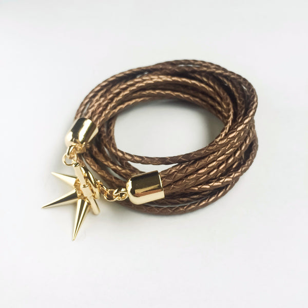 Two-in-one bronze leather choker and double bracelet | KRISTINAGOESWEST.COM  - 3