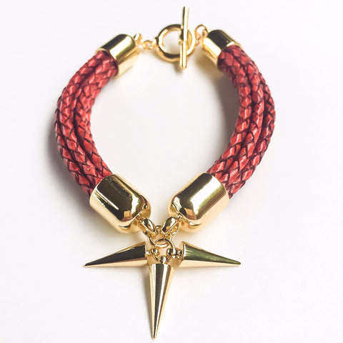 KGW Private Label | Antique red leather bracelet - Kristina Goes West  - 1