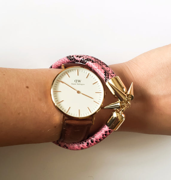 KGW Private Label | Pink snake effect leather bracelet - Kristina Goes West  - 3