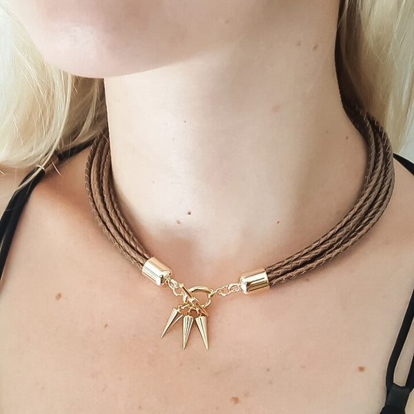 Two-in-one bronze leather choker and double bracelet | KRISTINAGOESWEST.COM  - 4