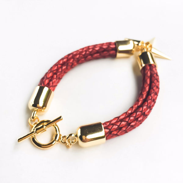 KGW Private Label | Antique red leather bracelet - Kristina Goes West  - 4