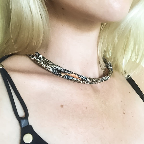 KGW Private Label | Two-in-one burnt orange snake effect leather choker and double bracelet - Kristina Goes West  - 7
