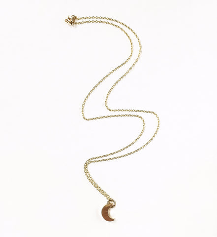 KGW Private Label | 14k gold plated silver necklace Moon - Kristina Goes West  - 1