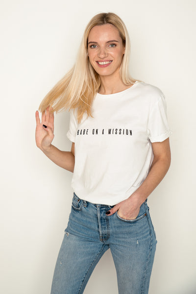 White organic cotton tee Babe on a Mission by Babe Universe | KRISTINAGOESWEST.COM - 1