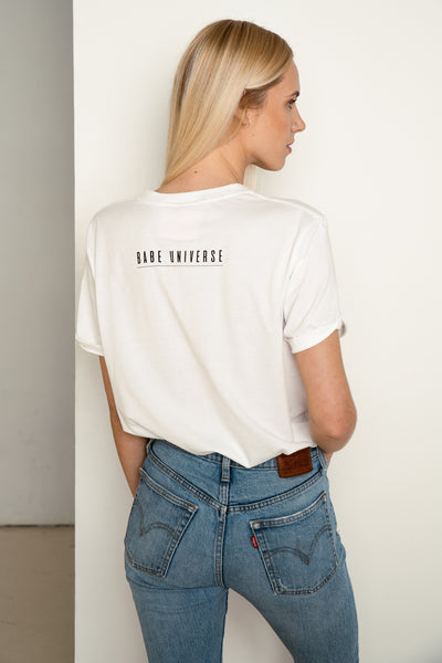 White organic cotton tee Babe on a Mission by Babe Universe | KRISTINAGOESWEST.COM - 2