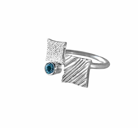 KGW by S.B. | Silver ring Double square - Kristina Goes West  - 1