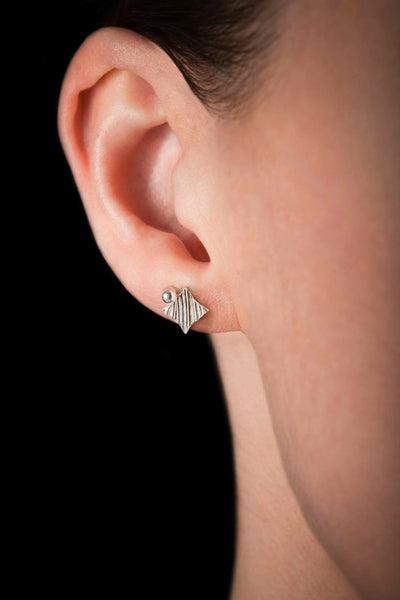 KGW by S.B. | Stripey silver earrings with a drop - Kristina Goes West  - 3