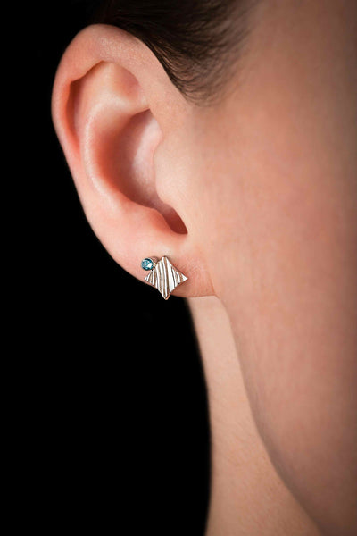 KGW by S.B. | Stripey silver earrings with Swiss Topazes - Kristina Goes West  - 3