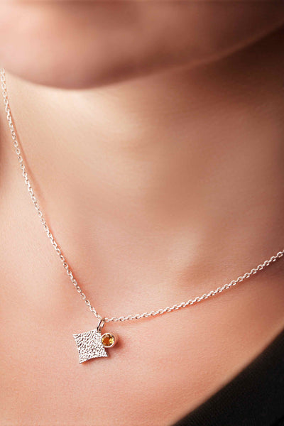 KGW by S.B. | Silver necklace with Citrine - Kristina Goes West  - 3