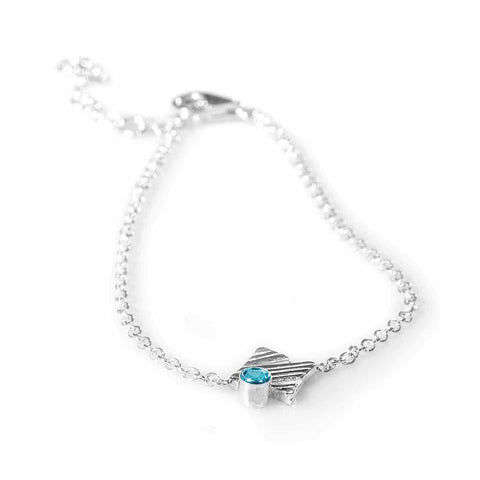 KGW by S.B. | Single chain silver bracelet with Swiss Topaz - Kristina Goes West  - 1