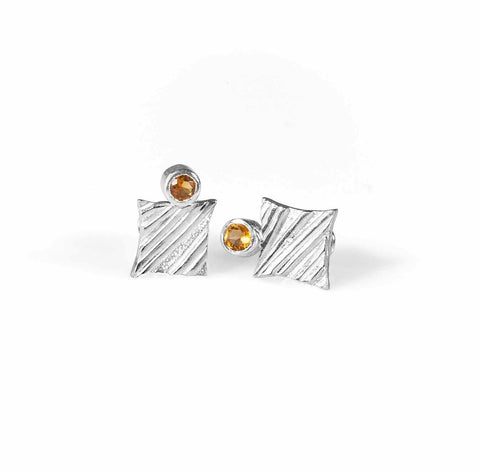 KGW by S.B. | Silver earrings with Citrines - Kristina Goes West  - 1