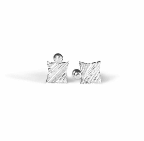 KGW by S.B. | Stripey silver earrings with a drop - Kristina Goes West  - 1