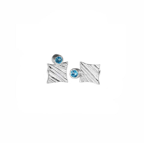 KGW by S.B. | Stripey silver earrings with Swiss Topazes - Kristina Goes West  - 1