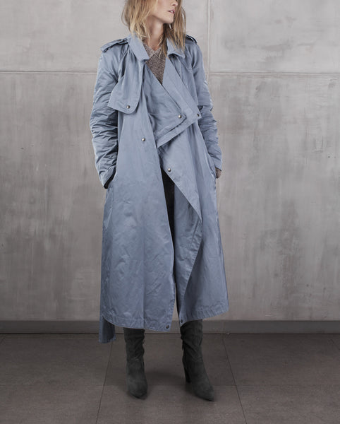 KristarDesign - Steel blue transeasonal trench coat Anna French - Kristina Goes West  - 1