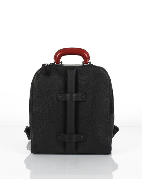 Black small unisex backpack with two replaceable top handles by Bagology London | KRISTINAGOESWEST.COM - 1