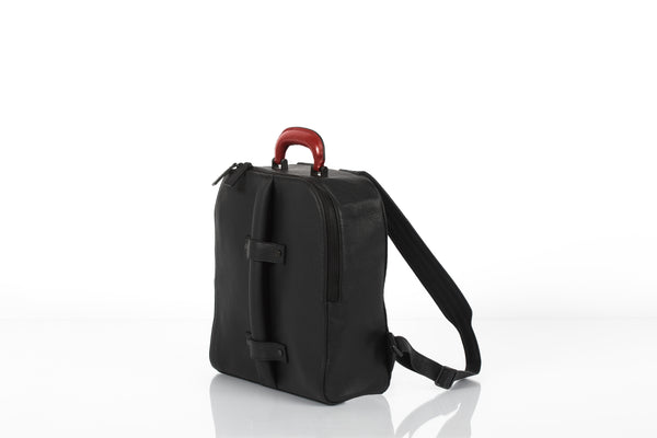 Black small unisex backpack with two replaceable top handles by Bagology London | KRISTINAGOESWEST.COM - 2