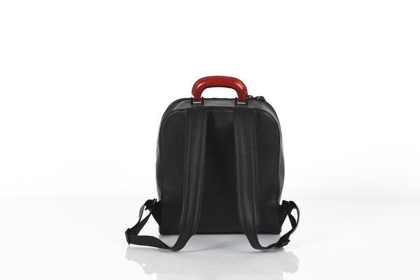 Black small unisex backpack with two replaceable top handles by Bagology London | KRISTINAGOESWEST.COM - 3