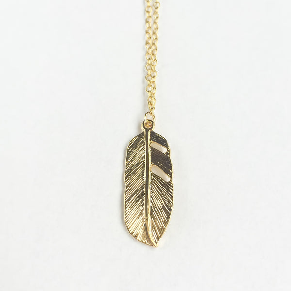 14k gold plated silver necklace Feather | KRISTINAGOESWEST.COM  - 3
