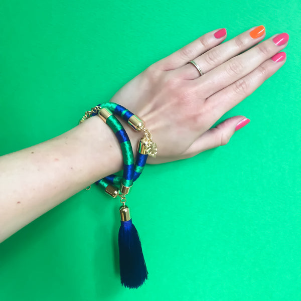 Navy blue and green hand woven silk satin bracelet with a tassel | KRISTINAGOESWEST.COM  - 4