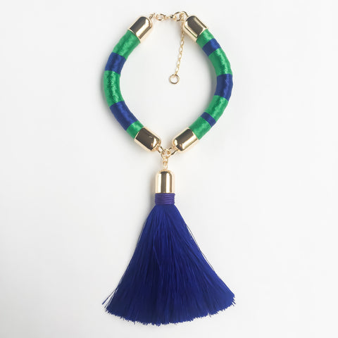 Navy blue and green hand woven silk satin bracelet with a tassel | KRISTINAGOESWEST.COM  - 1