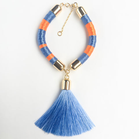 Light blue and orange hand-woven silk satin bracelet with a tassel | KRISTINAGOESWEST.COM - 1