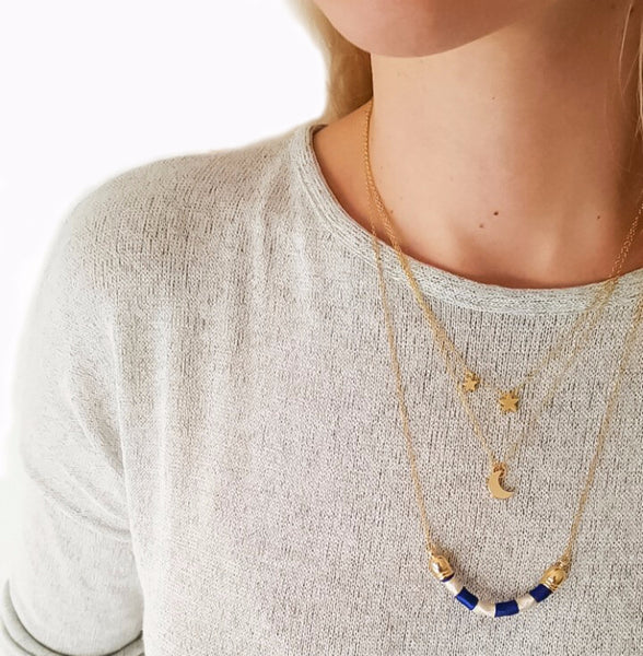 14k gold plated silver necklace Moon | KRISTINAGOESWEST.COM  - 4