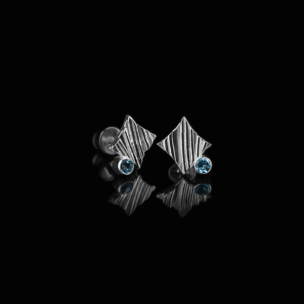 KGW by S.B. | Stripey silver earrings with Swiss Topazes - Kristina Goes West  - 2