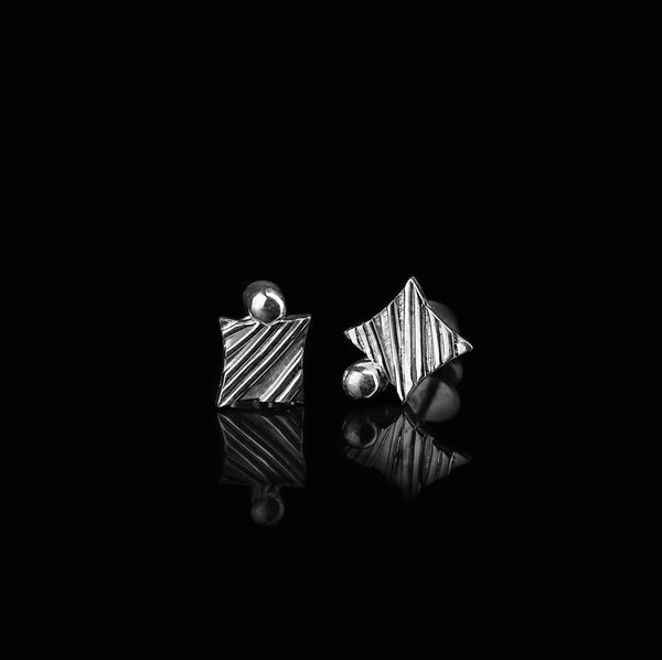 KGW by S.B. | Stripey silver earrings with a drop - Kristina Goes West  - 2