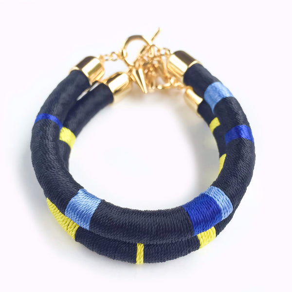 Black and yellow hand-woven silk satin bracelet | KRISTINAGOESWEST.COM  - 2