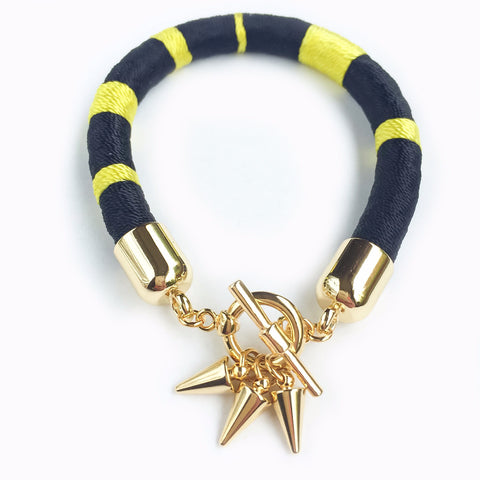 KGW Private Label | Black and yellow silk satin bracelet - Kristina Goes West  - 1