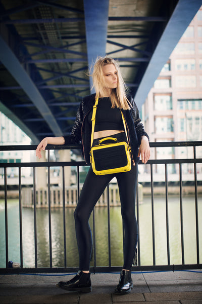 Hackney yellow leather and black suede shoulder bag