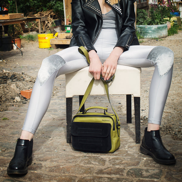Hackney olive green leather and black suede shoulder bag