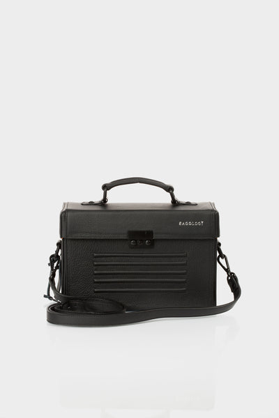 Black calf leather box shoulder bag by Bagology | KRISTINAGOESWEST.COM - 2