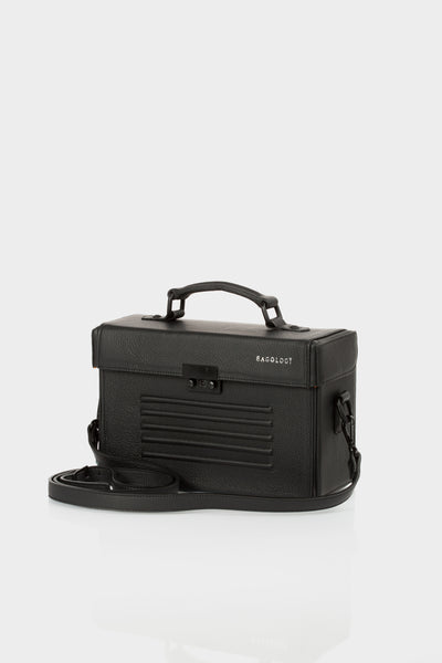 Black calf leather box shoulder bag by Bagology | KRISTINAGOESWEST.COM - 1