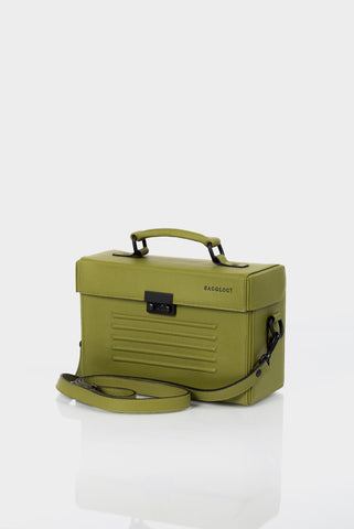 Olive green leather box shoulder bag by Bagology London | KRISTINAGOESWEST.COM - 1