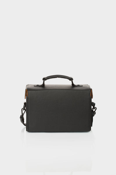 Black calf leather box shoulder bag by Bagology | KRISTINAGOESWEST.COM - 3