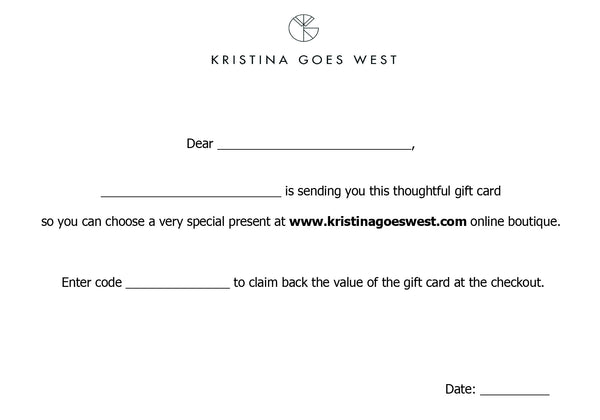 Kristina Goes West - Gift card - Kristina Goes West  - 2