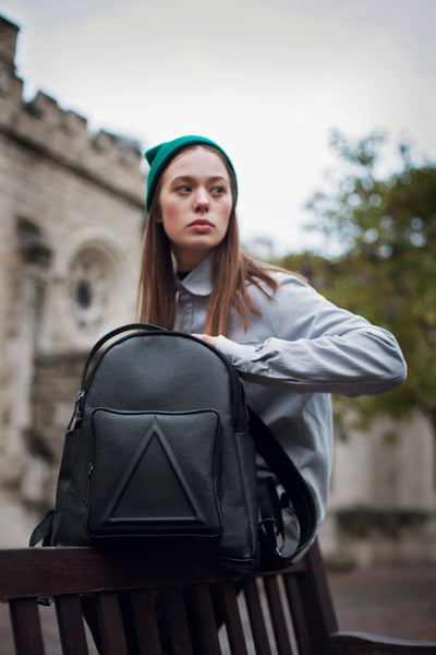 Black classic unisex leather backpack by Bagology London | KRISTINAGOESWEST.COM - 7