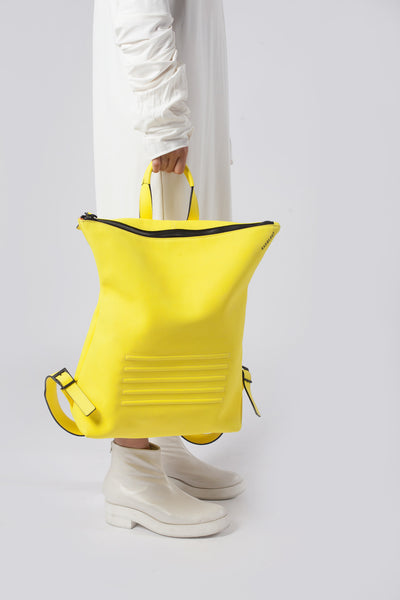 Yellow unisex natural leather backpack | Bagology London - Kristina Goes West  - 4