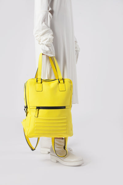 Mean yellow two-in-one unisex leather bag | Bagology London - Kristina Goes West  - 5