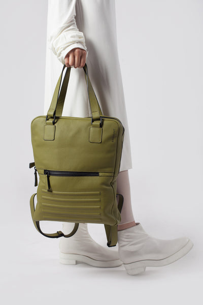 Power olive two-in-one unisex leather bag | Bagology London - Kristina Goes West  - 5
