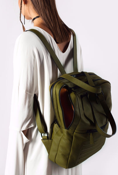 Power olive two-in-one unisex leather bag | Bagology London - Kristina Goes West  - 6