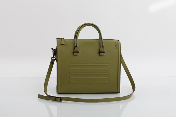 Olive textured natural leather satchel | Bagology London - Kristina Goes West  - 2