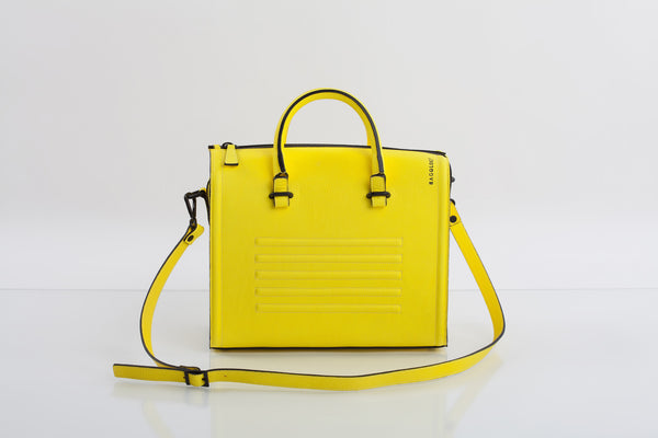 Bagology mean yellow textured leather satchel - Kristina Goes West  - 2