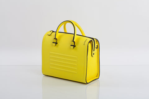 Bagology mean yellow textured leather satchel - Kristina Goes West  - 1