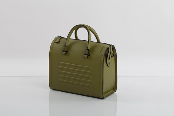 Olive textured natural leather satchel | Bagology London - Kristina Goes West  - 1