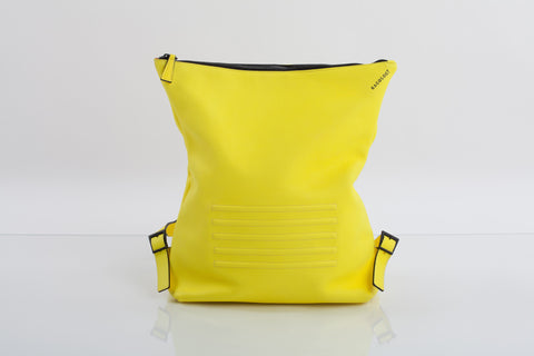 Yellow unisex natural leather backpack | Bagology London - Kristina Goes West  - 1