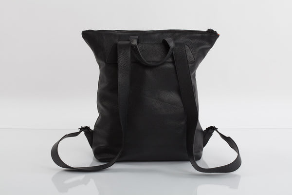 Bagology black ink unisex leather backpack - Kristina Goes West  - 2