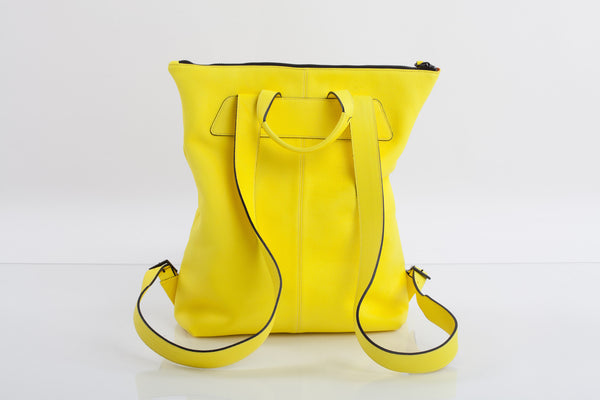 Yellow unisex natural leather backpack | Bagology London - Kristina Goes West  - 2
