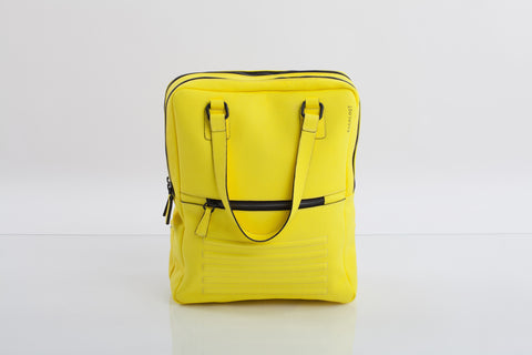 Mean yellow two-in-one unisex leather bag | Bagology London - Kristina Goes West  - 1